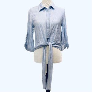 Sweet Wanderer Tie Cropped Top Blue White Medium